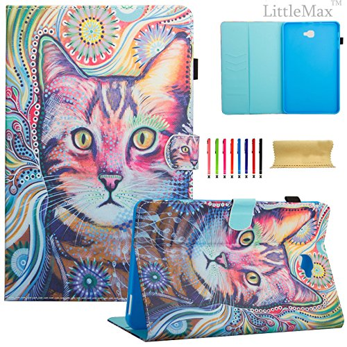 LittleMax(TM) Samsung Galaxy Tab A 10.1 with S Pen Case - Ultra Slim Smart Shell Stand Cover with Auto Sleep / Wake for Samsung Tab A 10.1 inch (S Pen Version SM-P580/SM-P585)-02 Lovely Cat (Pen 02)