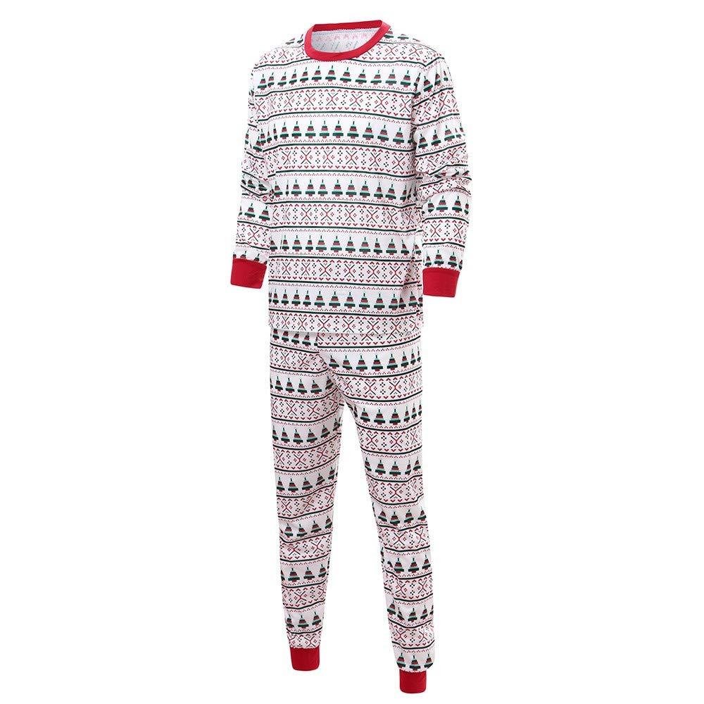 Snowflake Christmas Tree Pattern Long Sleeve Tops and Pants Sleepwear Matching Family Christmas Pajamas Sets