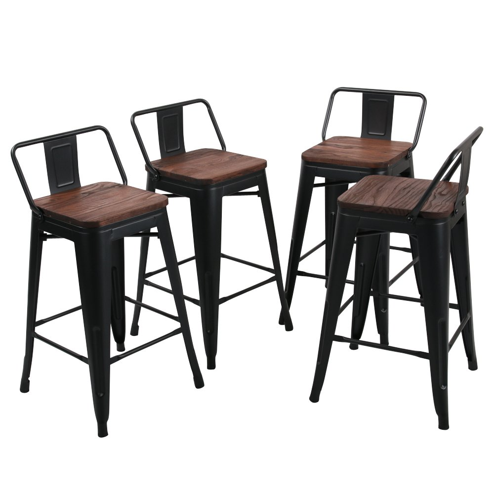 Tongli Metal Barstools Set Industrial Counter Height Stools Pack of 4 Patio Dining Chair Black Wooden Seat Low Back 26
