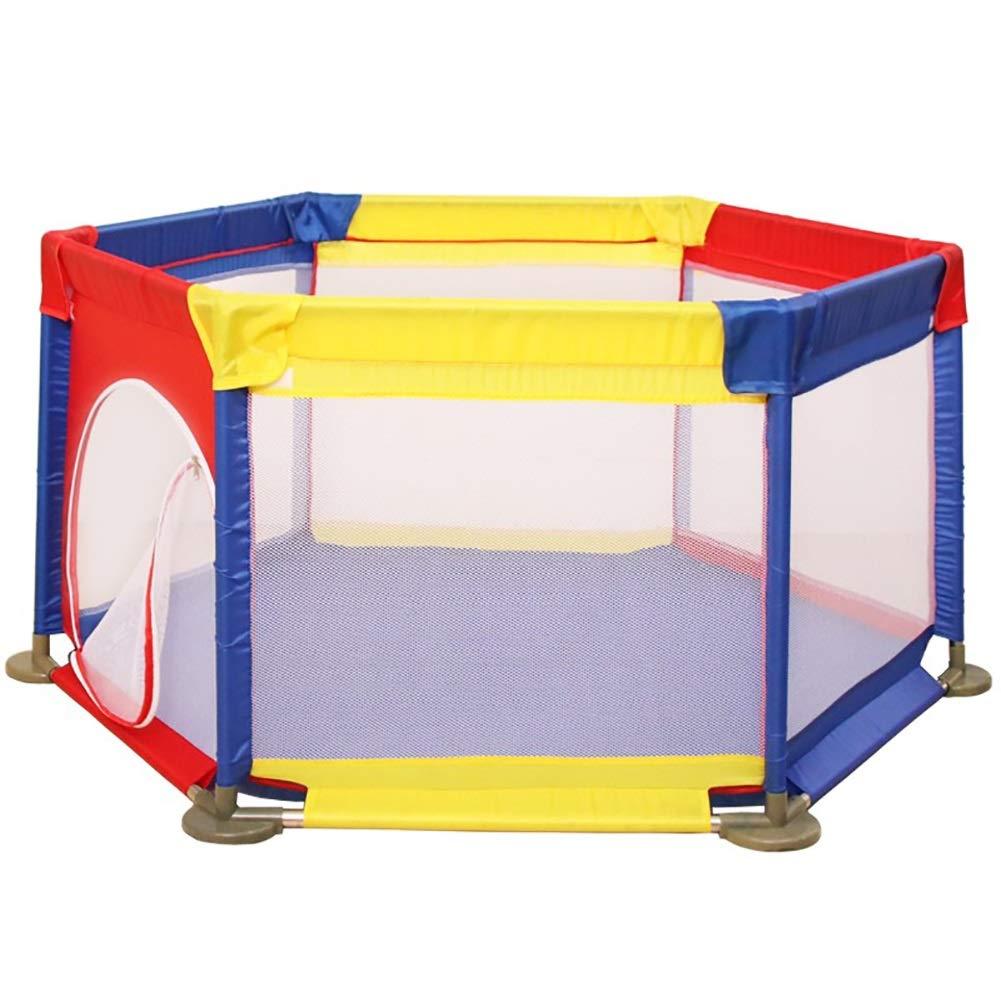 -ベビーサークル ベビーベビーサークル - 子供用セーフティプレーヤー、6パネルアンチロールオーバー幼児フェンス、ルームディバイダープレイペン   B07MTS2TFG