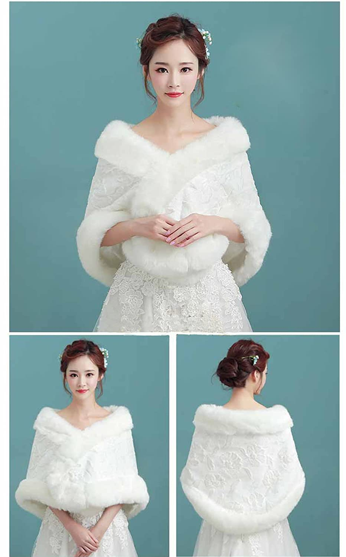 Angel Formal Dresses Women\'s Faux Fur Wrap Shaw Wedding Jacket ...