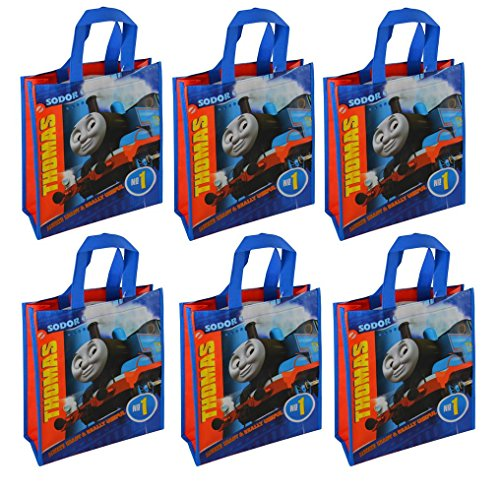 Thomas the Tank Engine Reusable 12-inch Tote Bags, 6-Pack Party Set, Blue, -