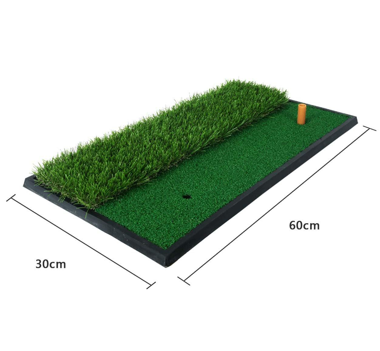 POSMA HM020A 30x60cm Golf Practice Double Side Hit Mat bundle Gift set with 3pcs Rubber Tee + 2pcs Tour Balls + 6pcs Golf Balls + 1pc Portable Golf Chipping Hitting Net for indoor by POSMA (Image #2)