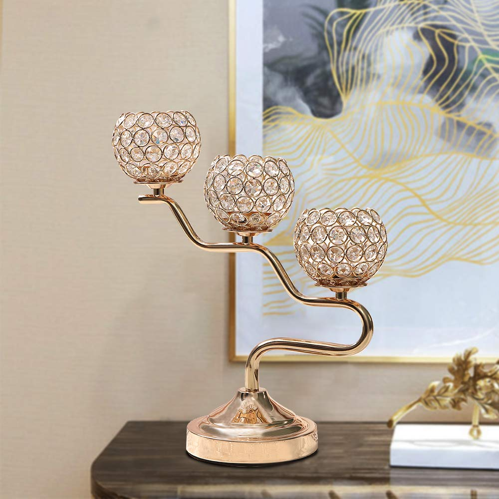 VINCIGANT Gold Crystal Candelabra for Home Holiday Decoration//Wedding Coffee Table Centerpiece,Gifts for Mothers Day//Easter Birthday//Housewarming