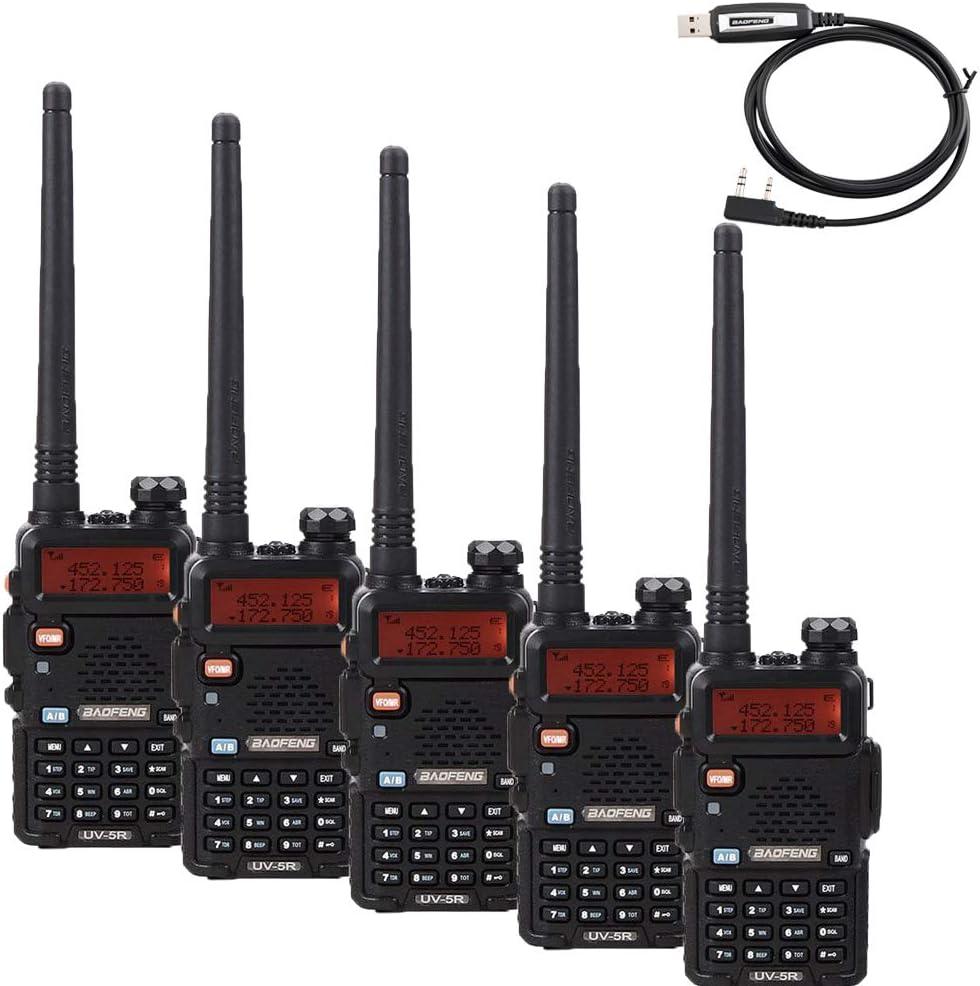 QUANBIAO UV-5R Tri-Power 8//4//1W Two Way Radio Dual Band High Power Walkie Talkie Free Cable Radio 2 Pack
