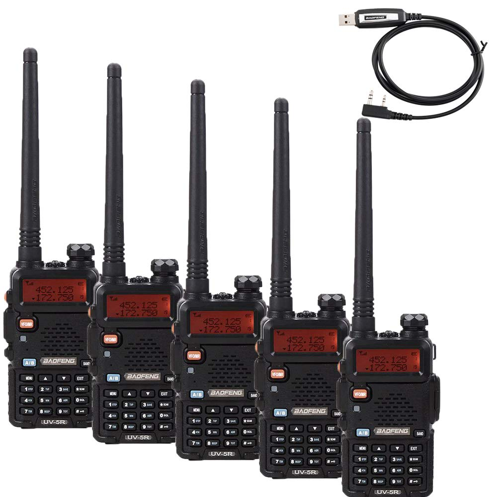 BaoFeng BF-UV5R 1.5 LCD 5W 400-470MHz 16-CH Handheld Walkie Talkies Black Pack of 5