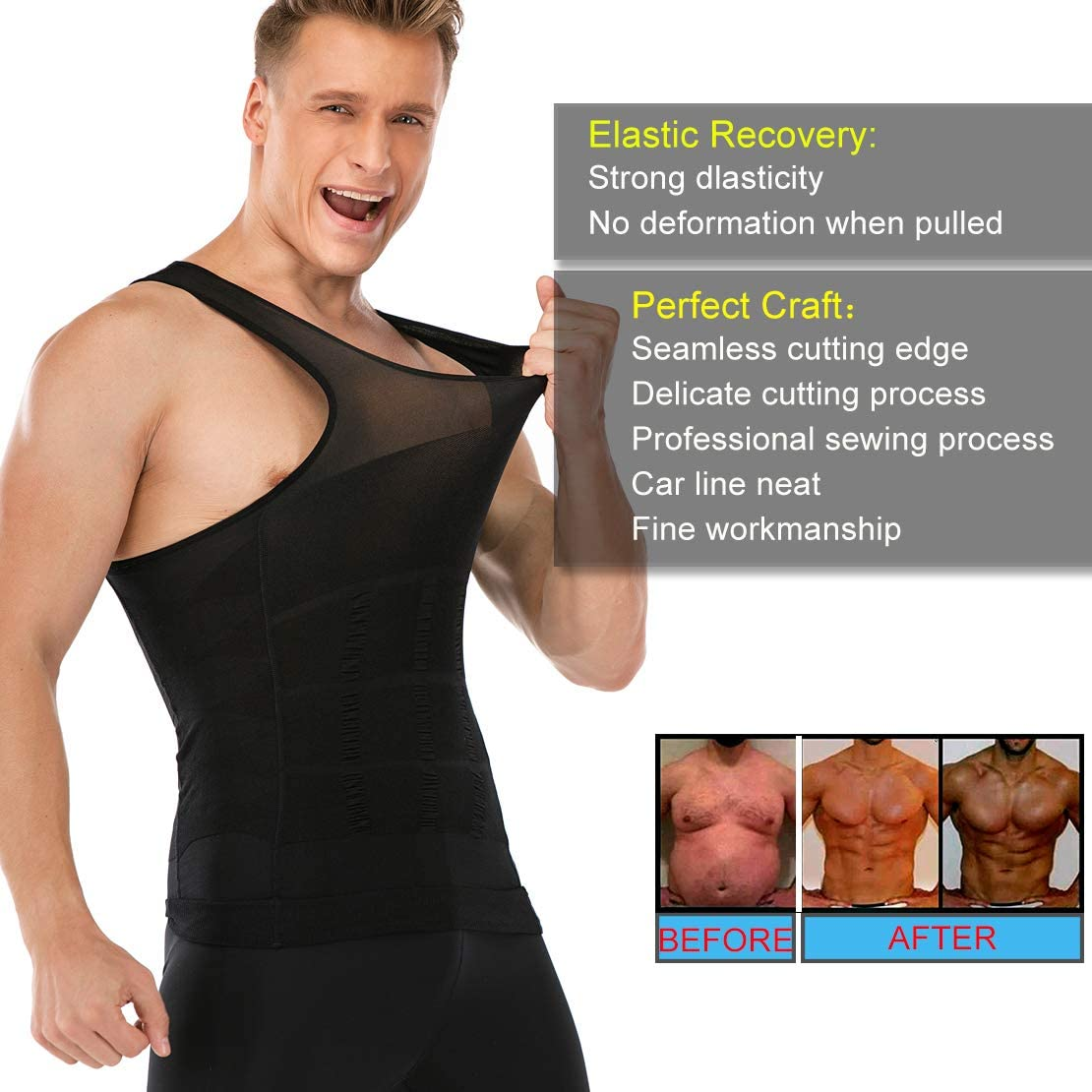 Mens Slimming Body Shaper Vest to Hide Man Boobs Shapewear Compression Shirt Abs Abdomen Slim Undershirt