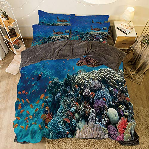 All Season Flannel Bedding Duvet Covers Sets for Girl Boy Kids 4-Piece Full for Bed Width 6.6ft Pattern by,Ocean Decor,Exotic Fish and Turtle in Fresh Water on Stony Corals Bio Diversity Wild Life P