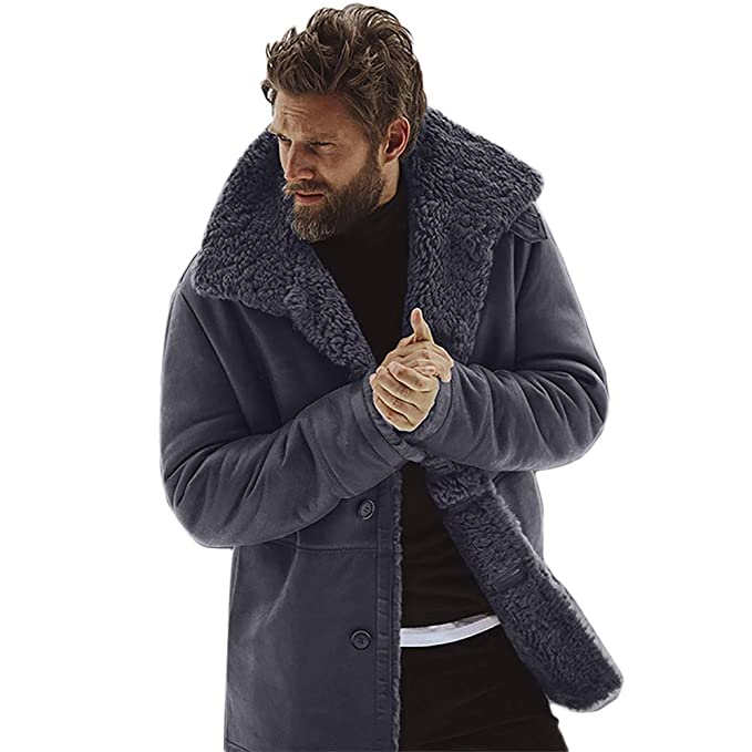 AKIMPE Mens Winter Sheepskin Jacket Warm Wool Lined Mountain Faux Lamb Jackets Coat at Amazon Mens Clothing store: