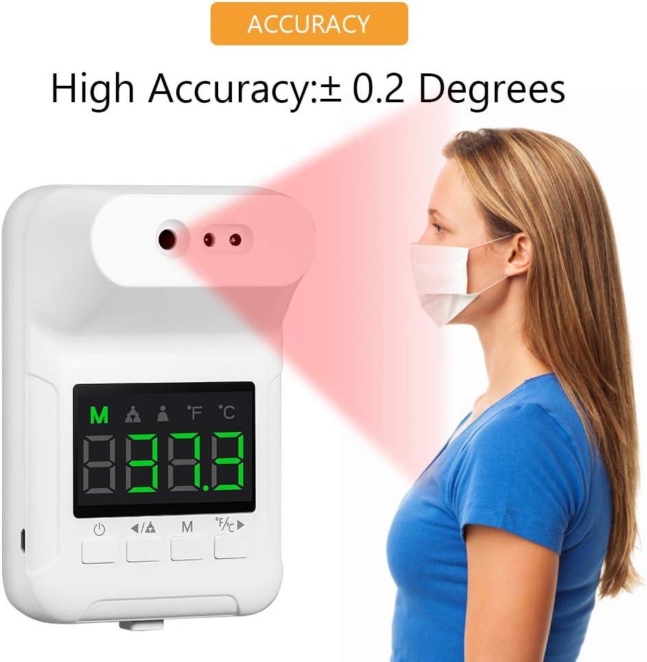 Lepeuxi Termometro digitale senza contatto Termometro frontale a infrarossi da parete con display LCD ufficio allarme febbre per fabbriche scuola negozi ristoranti
