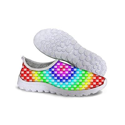FOR U DESIGNS Shiny Plaid Women's Convenient Mesh Walking Shoes Size 6.5