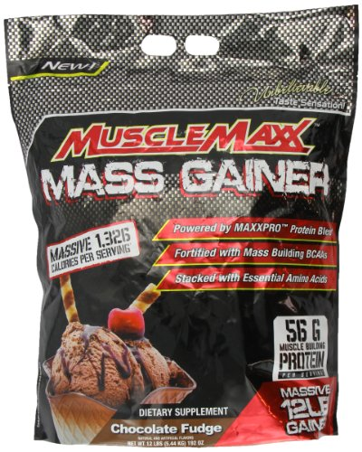 MUSCLEMAXX MASS GAINER, 56g Muscle Building Protein per Serving, Chocolate Fudge Flavor Dietary Supplement, 12 lbs