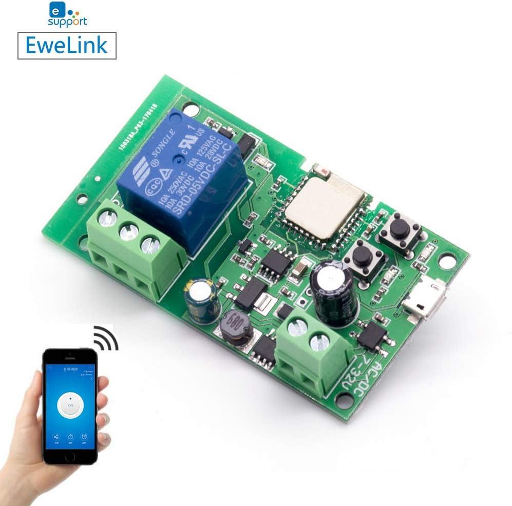 EACHEN WiFi Inlay inalámbrico Relé Momentáneo/Autoblocante Interruptor Inteligente DIY Hogar inteligente Gadget DC 5-32V Entrada Aplicación Ewelink Compatible con Alexa Google Nest IFTTT (ST-DC1)