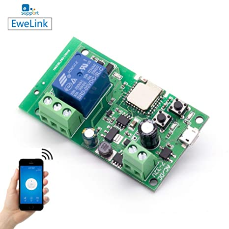EACHEN WiFi Wireless Inching Relay Monentary/Self-Locking Switch Module DIY  Smart Garage Door DC 5-32V AC90-260V Ewelink App Compatible with Alexa