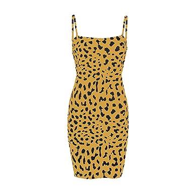 Culater Vestido Vestido De Abrigo De La Moda De Las Mujeres Honda Leopardo Vestido De Verano Casual: Amazon.es: Ropa y accesorios