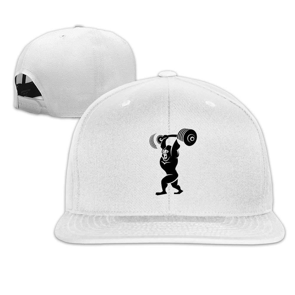 Gorilla Weight Lifting Hat Unisex-Adult Hip-Hop Baseball Cap Pink