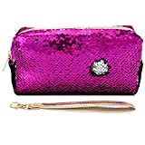 Uniuooi Glitter Cosmetic Bag Mermaid Spiral Reversible Sequins Portable Double Color Students Pencil Case for Girls Women Purse Make up Pouch with Detachable Handle Strap Zip Closure (Rose)