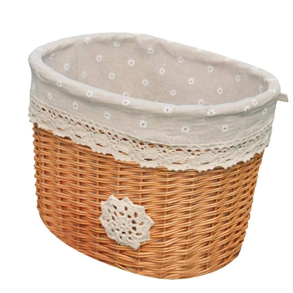 Coreychen - Cesta de mimbre para bicicleta al aire libre, para manillar delantero, respetuosa con el medio ambiente, hecha a mano, cesta de tela de coche con correas de piel auténtica, cesta de almacenamiento para el hogar, cesta de ratán