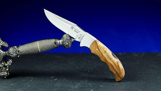 Cuchillo de caza Joker de 9 cm, madera de olivo, bloqueo ...