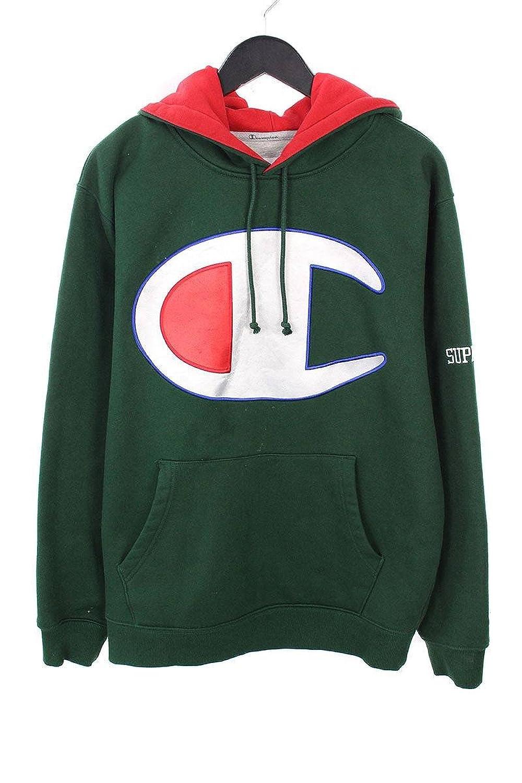 (シュプリーム) SUPREME ×チャンピオン/Champion  【17SS】【Satin Logo Hooded Sweatshirt】ロゴワッペンフーデッドパーカー(M/グリーン) 中古 B07FQDJM7G  -