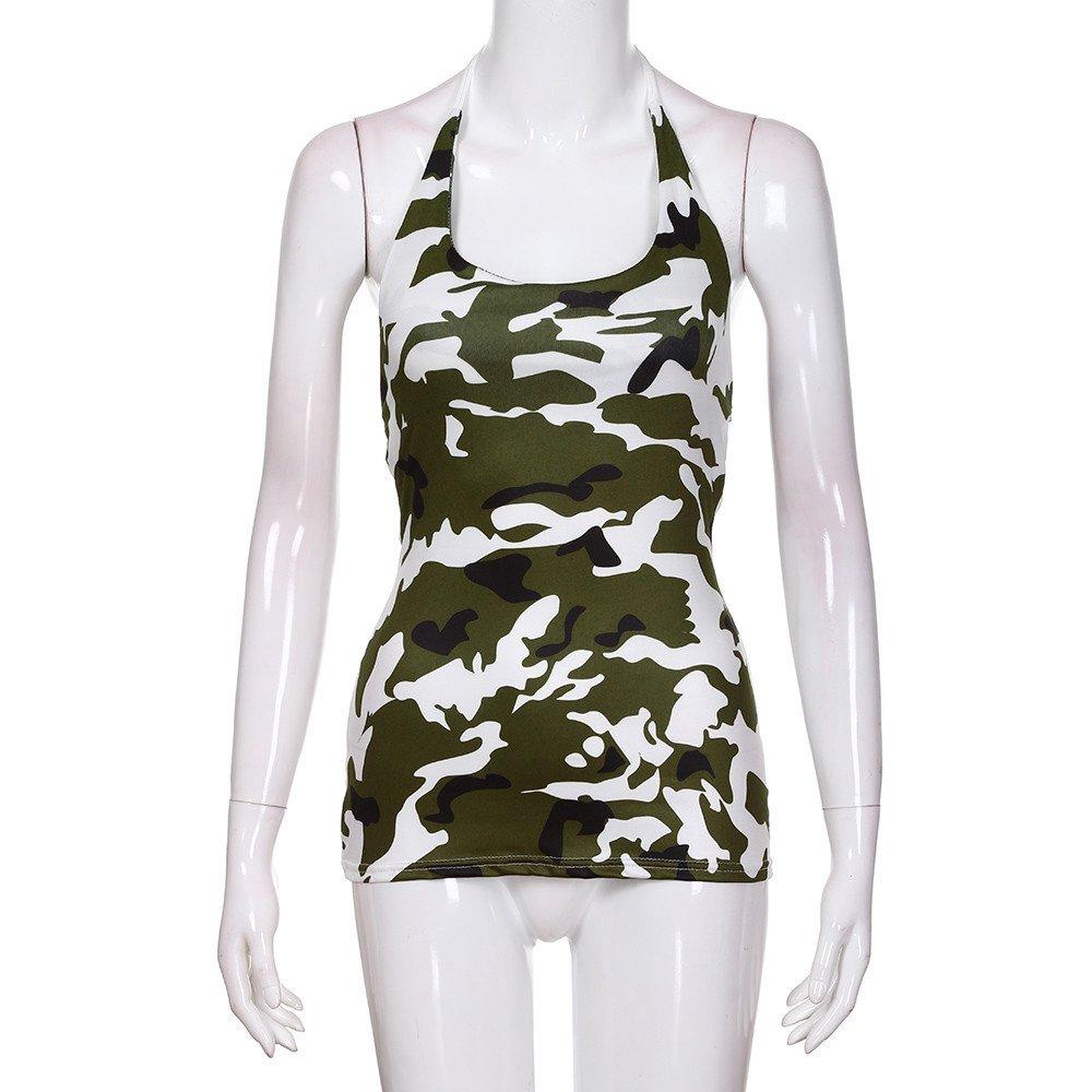 Sunhusing Womens Camouflage Print Halter Tank Top Slim Fit Frilled Pleated Sleeveless T-Shirt