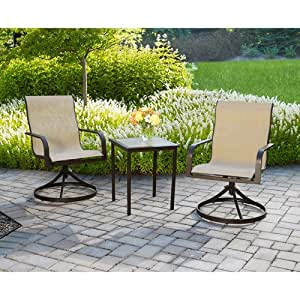 Mainstays Square Tile 3-Piece Outdoor Bistro Set, Seats 2