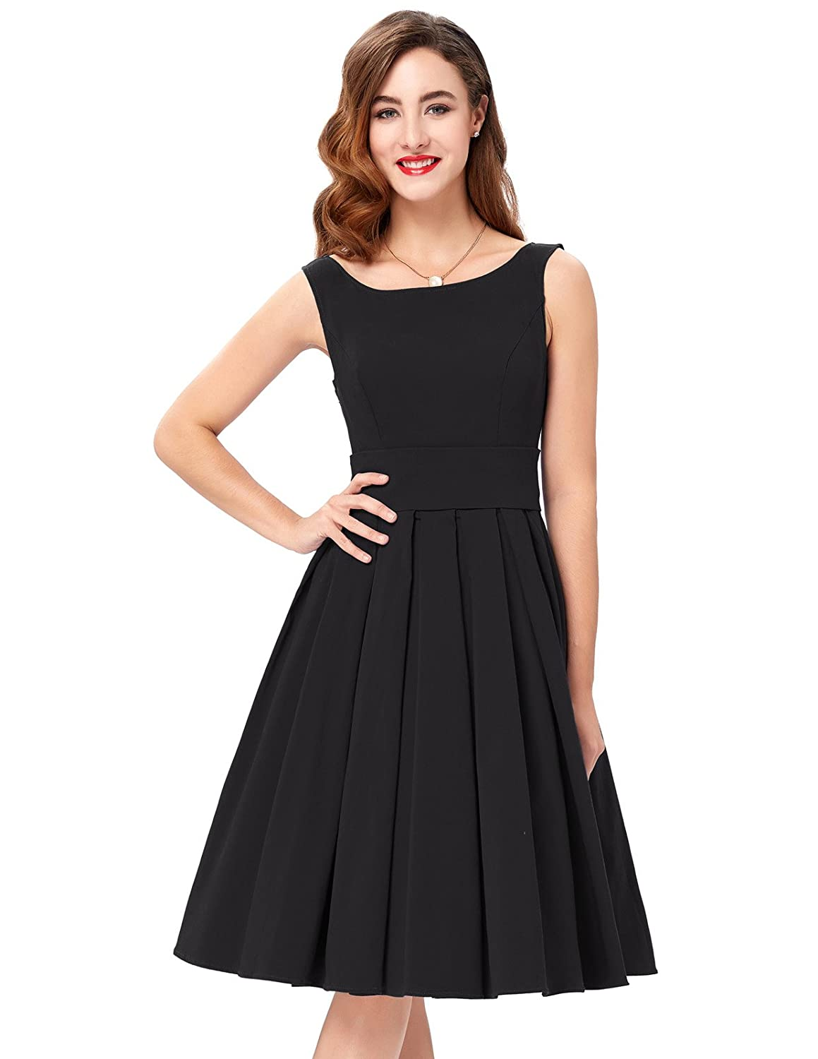 PAUL JONES Belle Poque Womens Audrey Hepburn 50s Dress Sleeveless Tea Dress BP091 at Amazon Womens Clothing store: