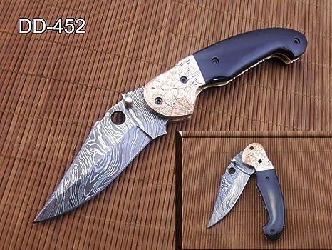 Amazon.com: Cuchillo plegable de acero Damasco, hoja de 7,75 ...