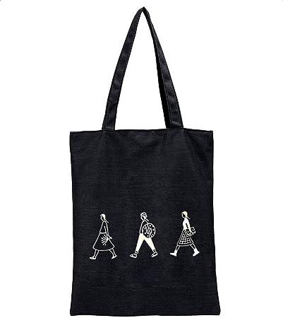 Leisial Bolsa de Lona de Algodón Bolso de Hombro Bolsa de la Compra de Grande Bolso de Viaje para Mujer Chica Portátil 40 * 32CM: Amazon.es: Hogar