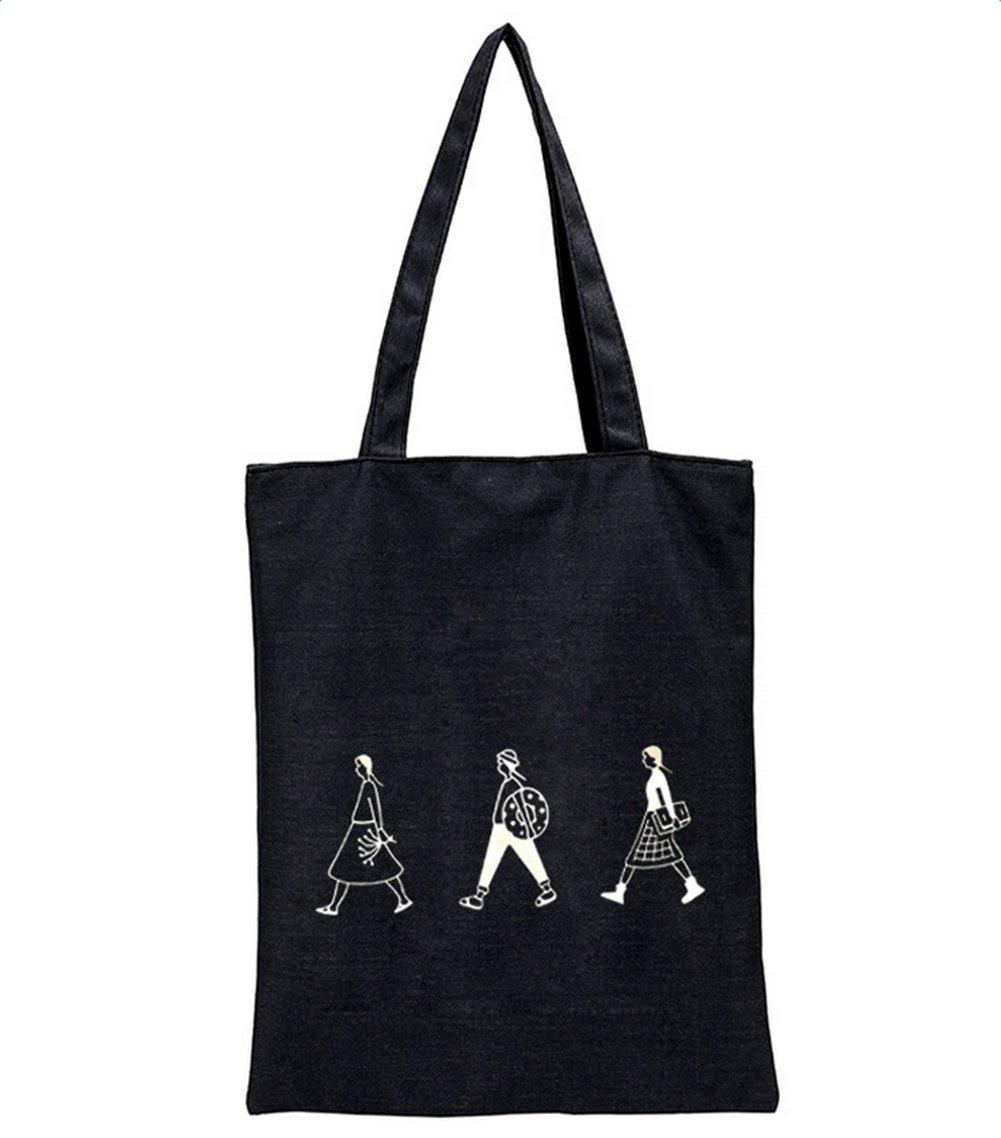 Schwarz Farbe Lumanuby 1x Unisex 3-M/ädchen Bild Einkaufstasche Canvas Gro/ße F/ähigkeit Cotton Tote Shopping Bag mit Rei/ßverschluss f/ür Studierende
