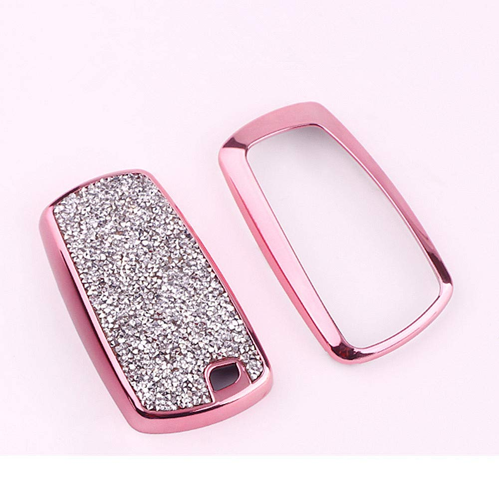 Long Style 3 Buttons QinLing Fob Key Cover Dazzle Pink case for Audi Accessories Keychain fit A3 A4 A5 A6 Q3 Q5 Q7 TT Key Chain Holder Shell Bag