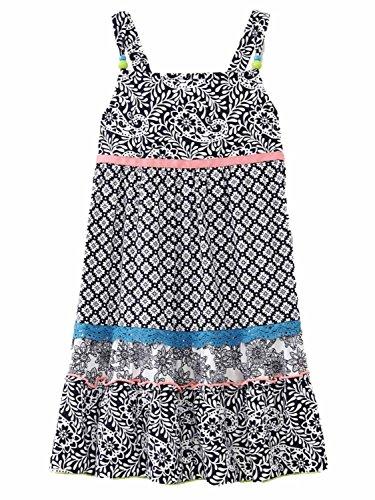 Youngland Toddler Girls Black & White Floral Print Beaded Sun Dress Sundress 2T