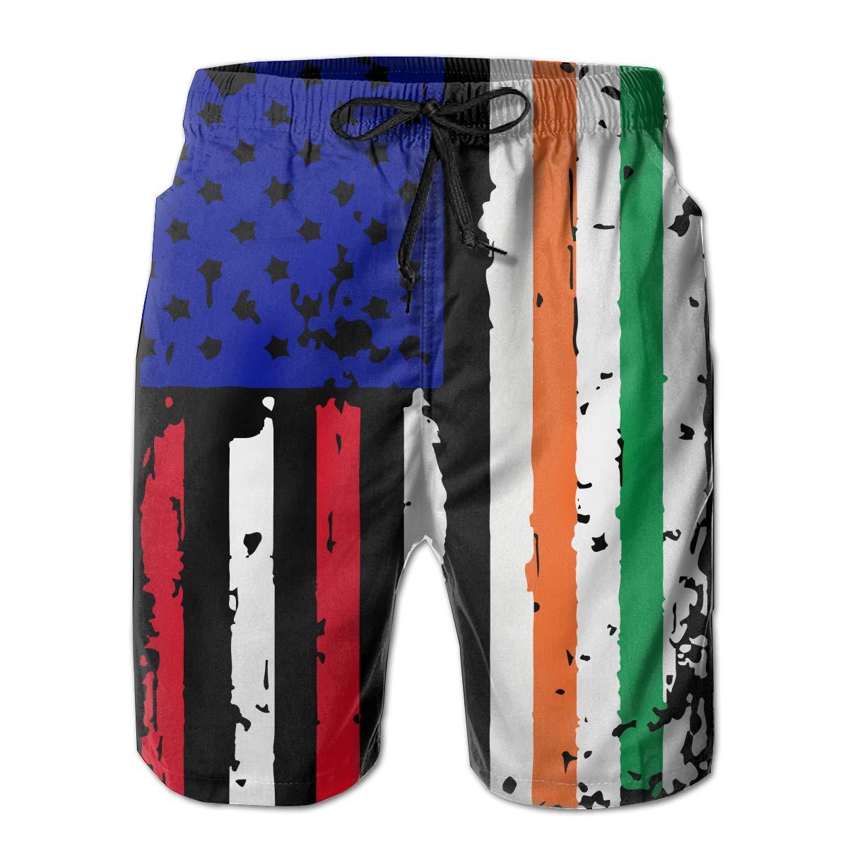 STDKNSK9 Mens Irish American USA Flag Pride Boardshorts Swim Trunks