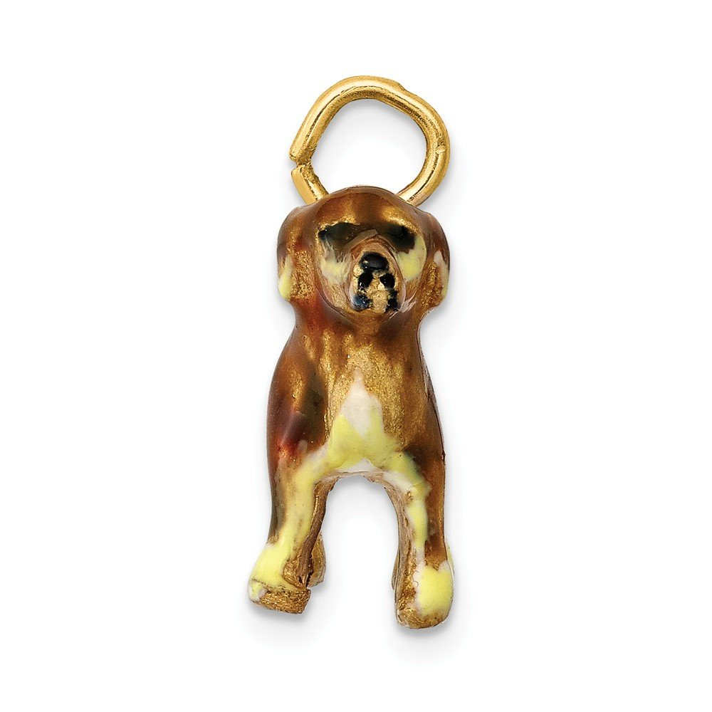 14K Enameled Small Golden Retriever Dog Charm by DiamondJewelryNY (Image #2)