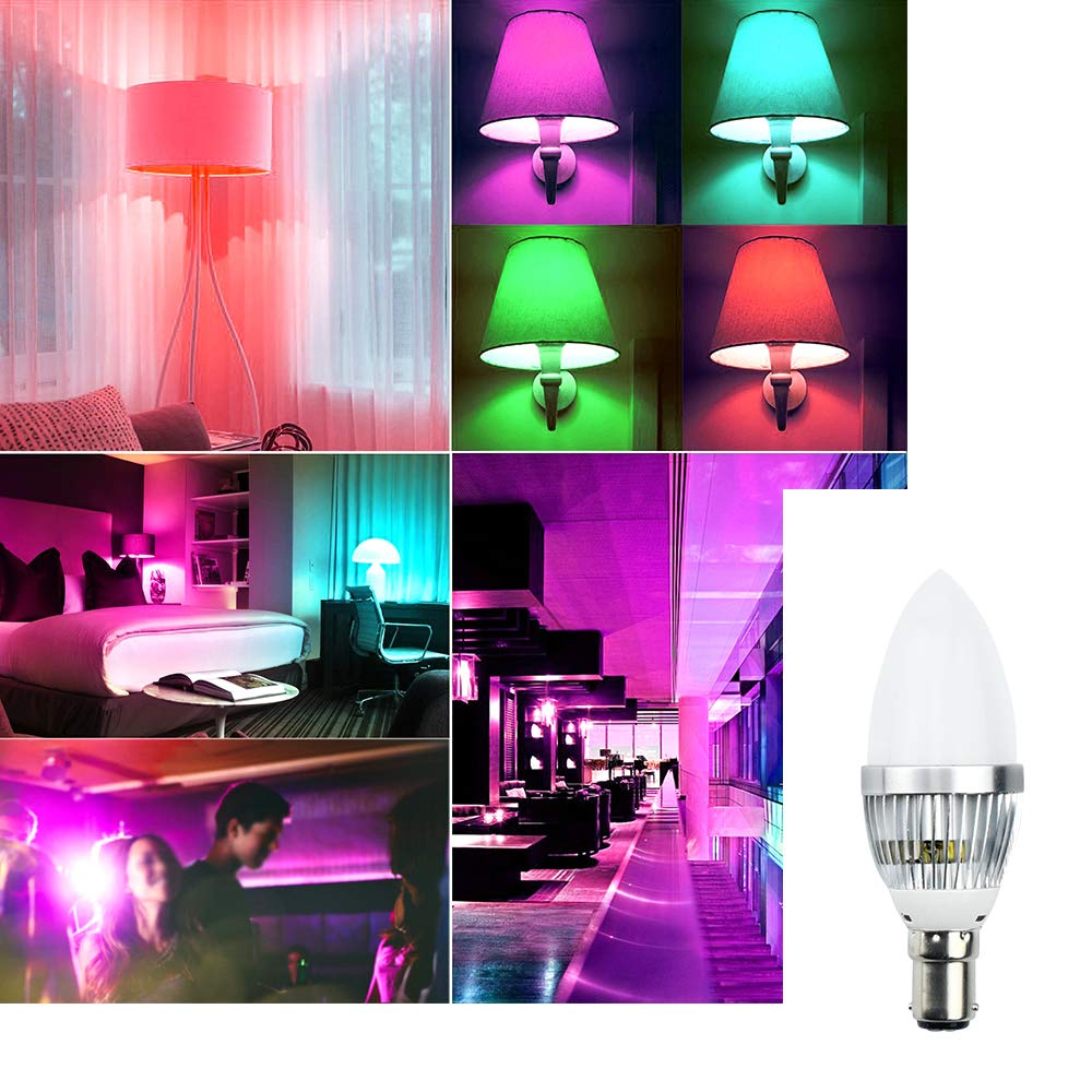 Small Bayonet Cap SBC with 16 Multi Coloured IR Remote Controller RGB Colour Bulb Mood Light for Bedroom Party Holiday Club Lighting 2pcs Bonlux RGB Colour Changing LED Candle Light Bulb Dimmable B15