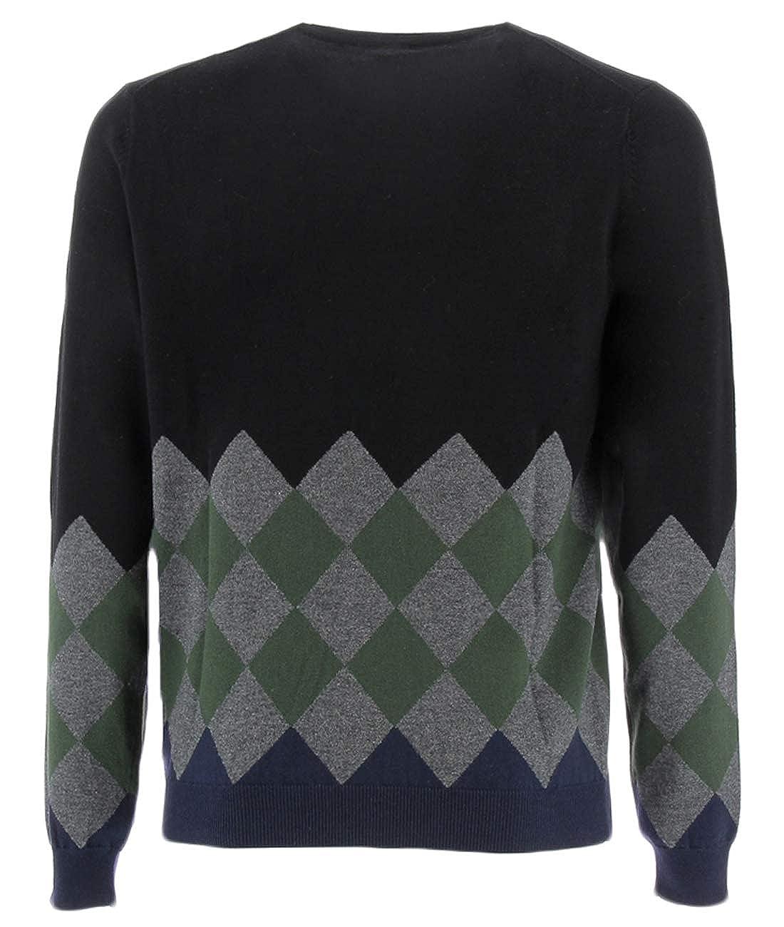 SUN68 Black Sweater with Rhombuses