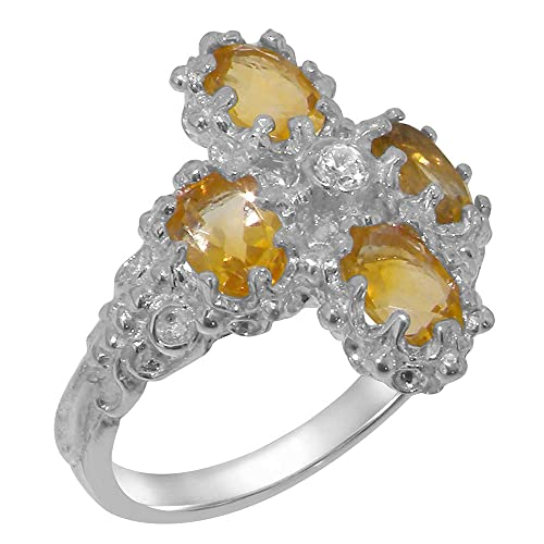 925 Sterling Silver Real Genuine Citrine Womens Band Ring