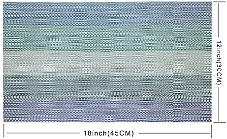 Candumy Blue Placemats for Kitchen Table Set of 8,Heat Stain Non Skid Insulation