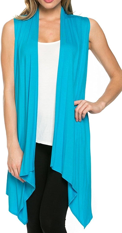 Cardigans/for/Women Solid Color Sleeveless Asymetric Hem Open Front Drape Long Cardigan Vest
