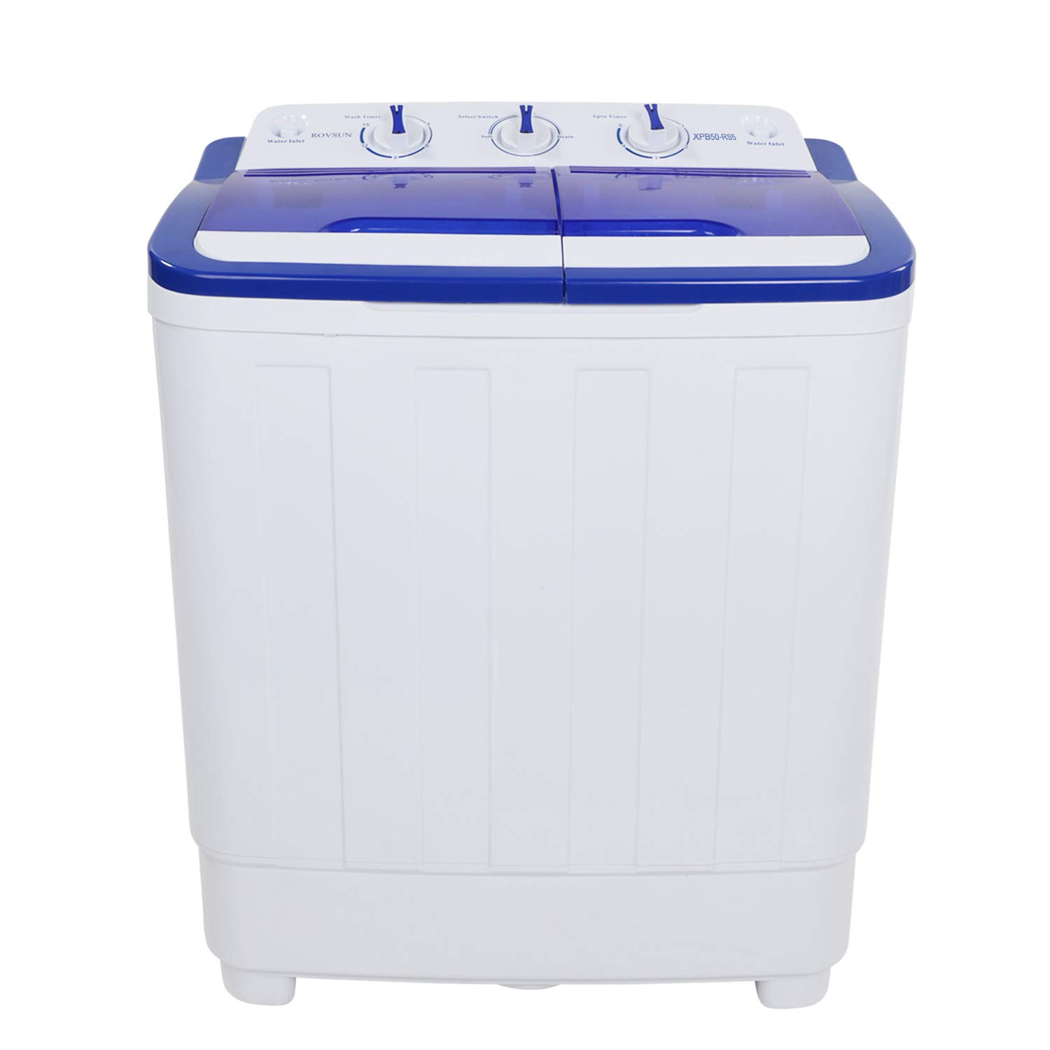 ROVSUN Portable Washing Machine 13.4LBS Capacity with Twin Tub,Electric Compact Mini Washer 23.2L x 13.9W x 26.5H Great for RV Camping Dorms College Rooms Spin Cycle w//Hose