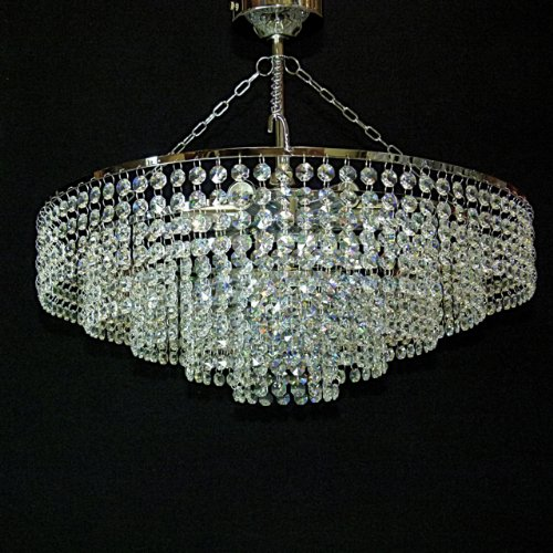It pl 50 chrome 50cm crystal chandelier ceiling light lamp it pl 50 chrome 50cm crystal chandelier ceiling light lamp ideal for low ceiling amazon lighting mozeypictures Image collections