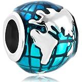 CharmSStory Ocean Blue Earth World Globe I Love Travel Charm Beads for Bracelets