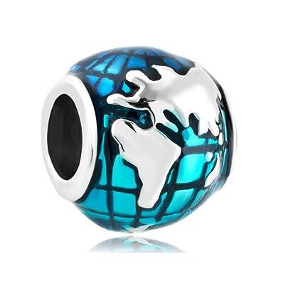 Amazon charmsstory ocean blue earth world globe charm beads charmsstory ocean blue earth world globe charm beads for bracelets world sciox Choice Image