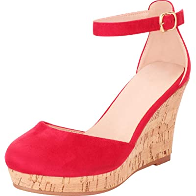 Cambridge Select Women's Round Toe Ankle Strap Chunky Platform Wedge | Platforms & Wedges
