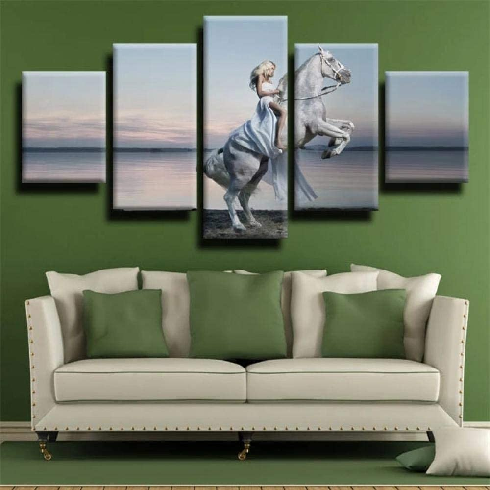 IIIUHU 5 Piezas Cuadro sobre Lienzo De Fotos Niña alimentando Caballo Blanco Lienzo Impresión Cuadros Decoracion Salon Grandes Cuadros para Dormitorios Modernos Mural Pared Listo para Colgar