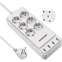 SAFEMORE Stekkerdoos met USB, 4USB(5 V/3,4 A, 17 W) en 6 -Weguitgangen (2500W/10A) Multi-Stekker Stekkerdoos met USB…