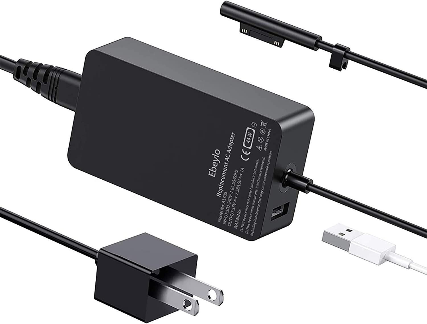 Surface Pro Charger, Ebeylo 44W 15V 2.58A Power Supply [Latest 2020] for Microsoft Surface Pro X/7/6/5/4/3,Surface Laptop 1/2, Surface Book 3/2/1 & Surface Go