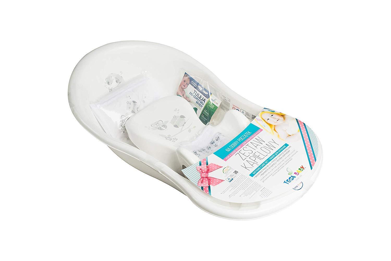 ab 0 Monate mit eingebautem Thermometer Tega Baby /® SET 5-teilig Badewanne Badesitz f/ür Baby GESCHENK f/ür Neugeborene Anti-rutsch Schlaue Eule WEI/ß