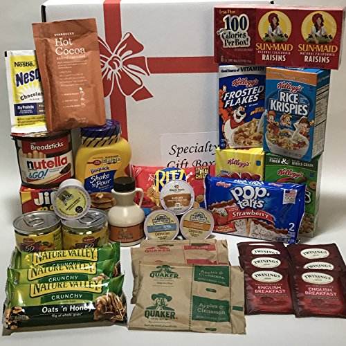 Mega Breakfast Favorites Gift Box Basket or Care Package - Lots of Good Stuff! - Over 4.5 Pounds Prime - Birthday, College, Elderly, Holidays, Get Well, and Christmas - 34 Items! (Breakfast Gift Basket Oatmeal)