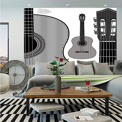 (Guitar Huge Photo Wall Mural,Monochrome Design Striped Acoustic Classical Instruments Folk Country Music Concert Decorative,Self-adhesive Large Wallpaper for Home Decor 100x144 inches,Black White)